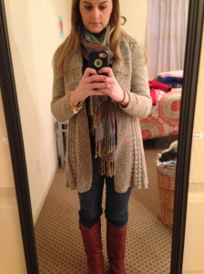causal, cozy outfit
