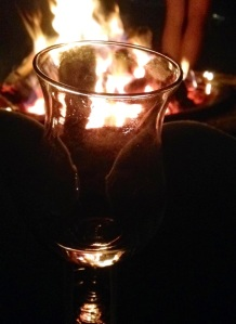 wine by the bonfire